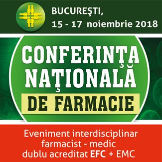 Conferinta Nationala de Farmacie – editia 2018: 15-17 noiembrie, Crystal Palace Ballrooms Bucuresti