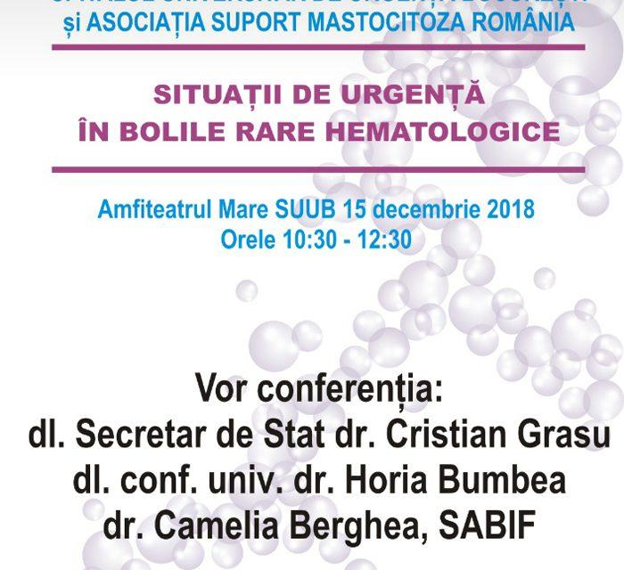 """Seminar """"Situatii de urgenta in bolile rare hematologice"""": 15 decembrie, Bucuresti"""