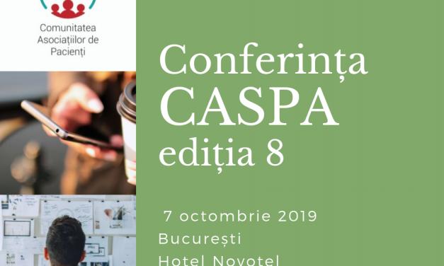 Ultimele zile de înscriere la Conferința Comunității Asociațiilor de Pacienți – CASPA, ediția 8