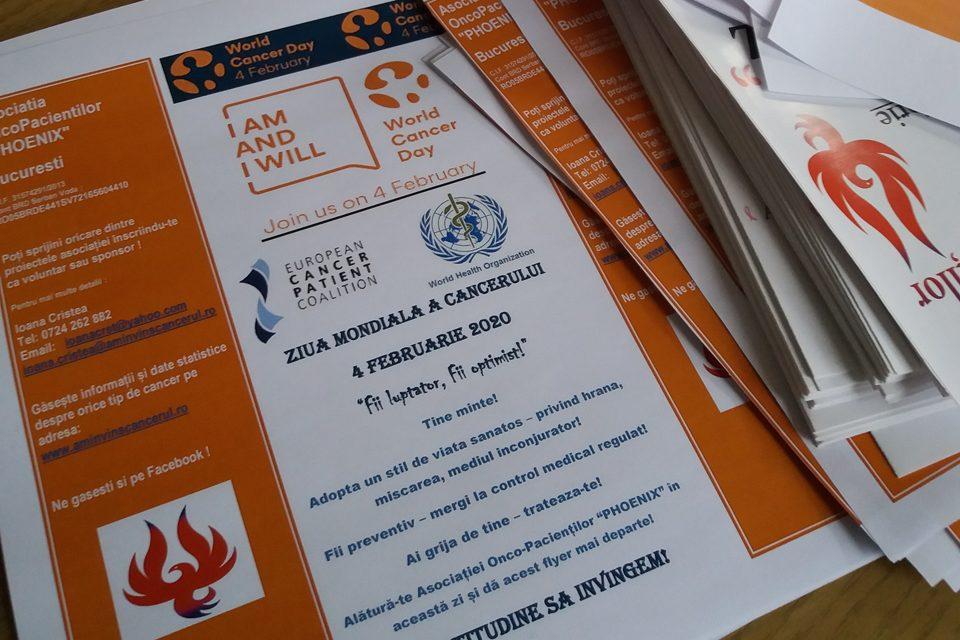 Acțiuni de prevenție desfășurate de Asociația OncoPacienților PHOENIX cu ocazia Zilei Mondiale de Luptă Împotriva Cancerului