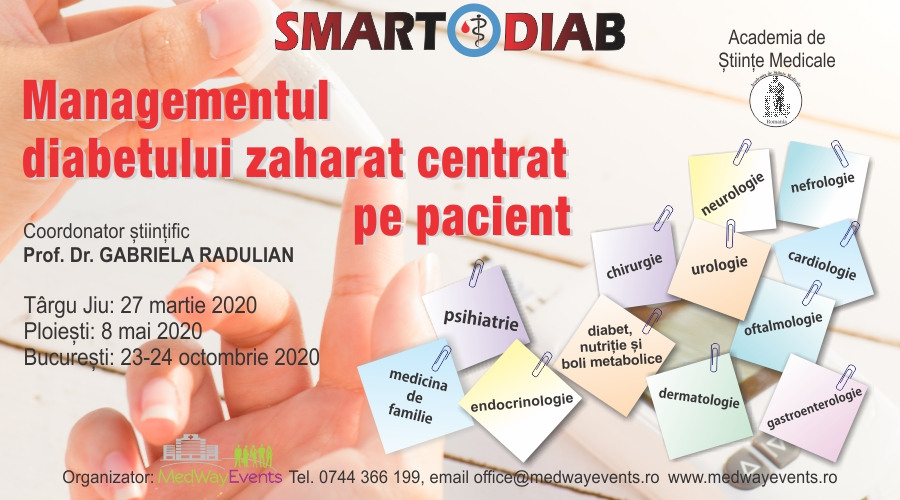 """Programul SMARTDIAB 2020 va include trei conferinte multidisciplinare cu tema """"Managementul diabetului zaharat – centrat pe pacient"""""""