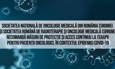 #SurseOficiale: Recomandări SNOMR și SRROM în vederea reducerii impactului pandemiei COVID-19 asupra pacienților oncologici și asupra serviciilor de oncologie