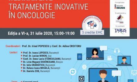 """Webinar Live """"Tratamente Inovative in Oncologie"""": 31 iulie, ora 15.00"""
