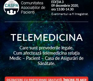 Serviciile de telemedicină și modurile de decontare: subiectul celei de-a treia întâlniri digitalea Comunității Asociațiilor de Pacienți – Caspa.ro