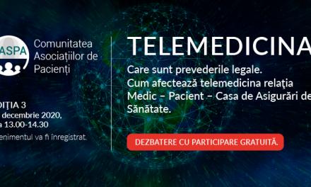 Telemedicina: subiectul celei de-a treia întâlniri digitale  a Comunității Asociațiilor de Pacienți – Caspa.ro