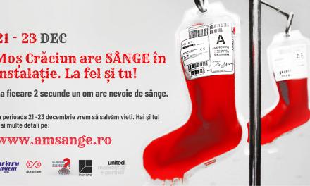 """A fost lansată Campania națională: """"Moș Crăciun are sânge în instalație. Și tu la fel!"""", prin care oamenii sunt îndemnați și sprijiniți să doneze sânge"""