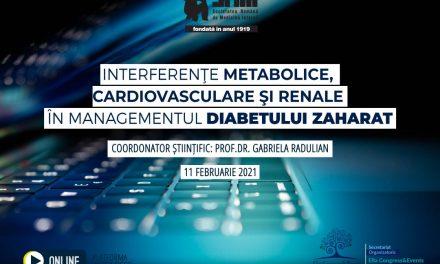 """Pe 11 februarie are loc Webinarul cu tema""""Interferențe metabolice, cardiovasculare și renale în managementul Diabetului Zaharat"""""""