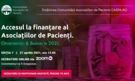 Caspa.ro: Accesul la finanțare al asociațiilor de pacienți, tema întâlnirii de marți 27 aprilie 2021