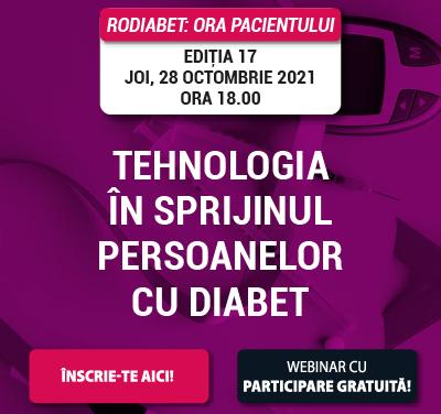 Ora Pacientului RoDiabet dedicată tehnologiilor care vin în sprijinul persoanelor cu diabet are loc joi, 28 octombrie