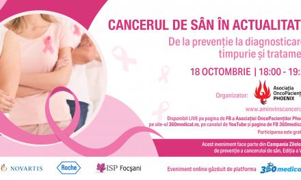 """Asociația OncoPacienților ,,PHOENIX"""" organizează evenimentul """"Cancerul de sân în actualitate – De la prevenție la diagnostic și tratament timpuriu"""""""